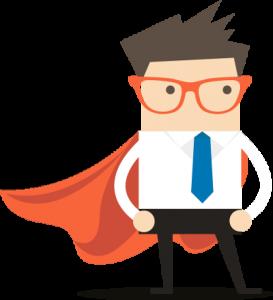 Proud businessman superhero in white shirt and orange cape