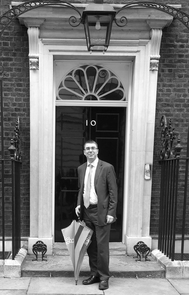 Paolo Cuomo in front of No 10 Downing Street